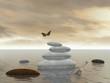 Butterflies in flight in a Zen landscape - 3D rendering