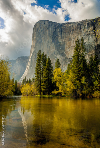 Poster Reflexion Mountain peak reflected in river with trees