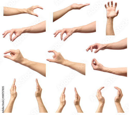 Valokuva  Set of man hands measuring invisible items