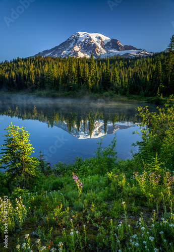 Poster Reflexion Mountain reflected in lake with wildflowers