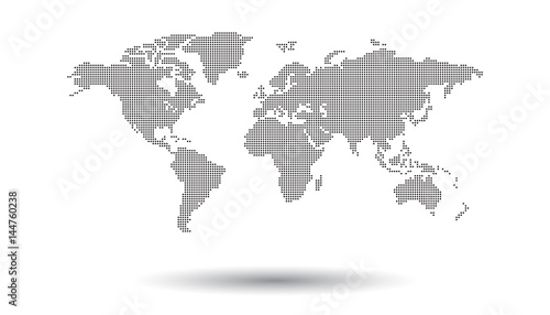 Dotted black world map on white background. World map vector template for website, infographics, design. Flat earth world map illustration