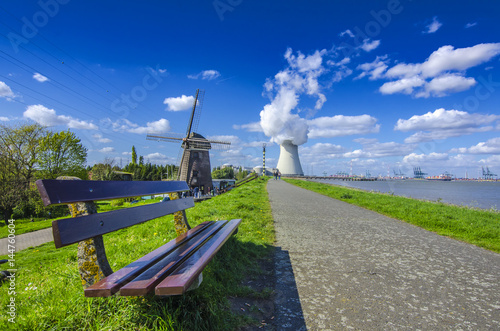 Photo View of the nuclear power plant in the town of Doel, Belgium.