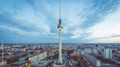 Poster Berlin Berlin skyline with TV tower at Alexanderplatz at night, Germany