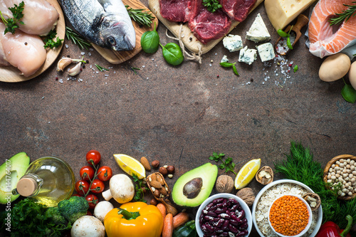 Fototapeta Balanced diet. Organic food for healthy nutrition. Top view copy space. obraz