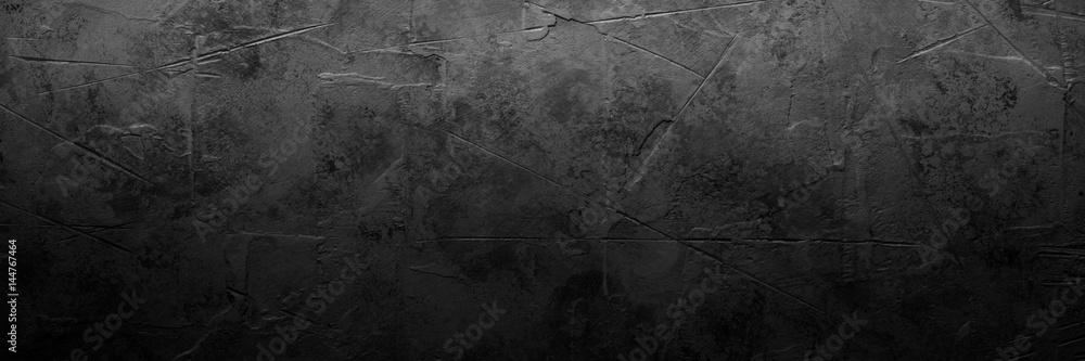 Fototapety, obrazy: Black empty concrete stone texture. Slate background. Long banner format.