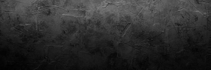 Black empty concrete stone texture. Slate background. Long banner format.