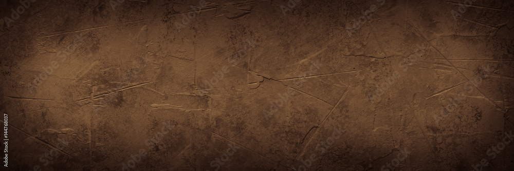 Fototapety, obrazy: Brown empty concrete stone texture. Slate background. Long banner format.