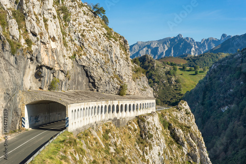 Avalanche gallery on the road to the National Park Picos de Europa Tablou Canvas
