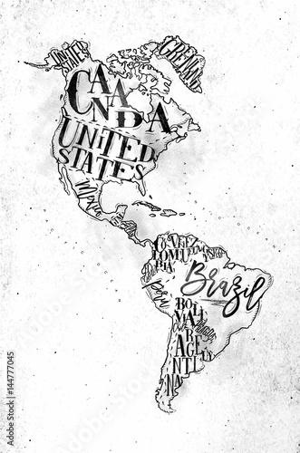 Cuadros en Lienzo Map Aamerica vintage
