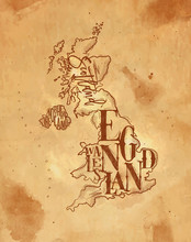 Map United Kingdom Vintage Craft