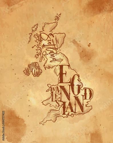 Fotomural Map United Kingdom vintage craft