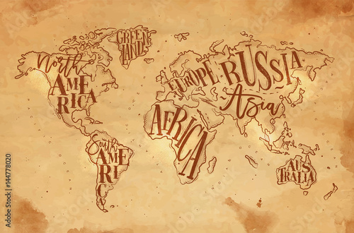 Cuadros en Lienzo  Worldmap vintage craft