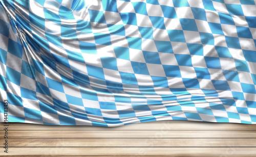 Fotografie, Obraz bavaria oktoberfest 3d render flag and wooden ground. 3d render