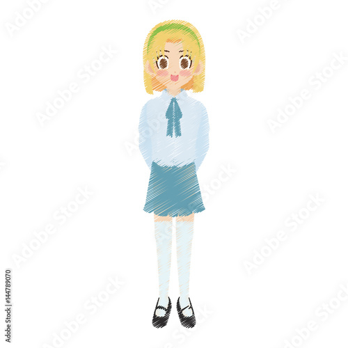 Cute Anime Or Manga School Girl With Blonde Hair And Brown Eyes