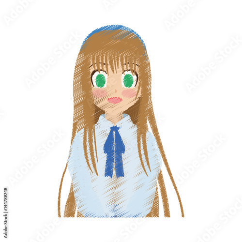 Cute Anime Or Manga School Girl With Light Brown Hair And Green