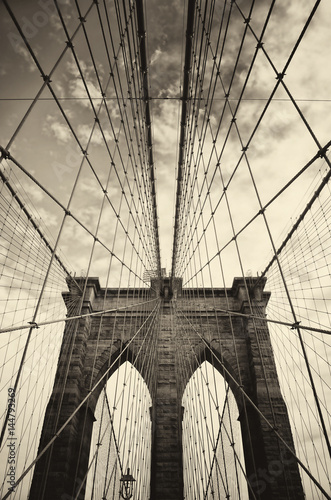 Fototapety, obrazy: Brooklyn bridge in New York in sepia
