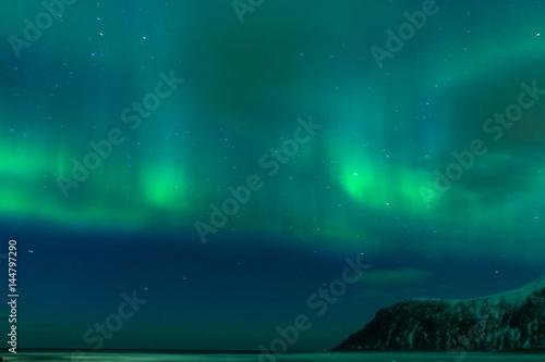 Picturesque Unique Northern Lights Aurora Borealis Over Lofoten Islands in Nothern Part of Norway Tapéta, Fotótapéta
