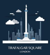 Famous London Landmark Trafalgar Square Illustration
