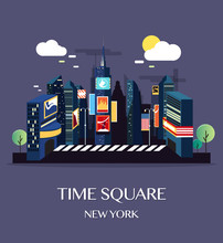 Time Square New York.Vector Il...