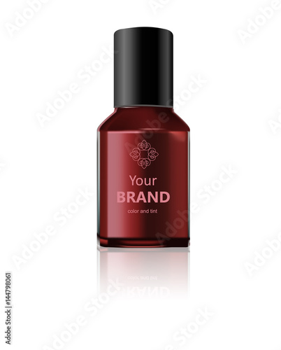 round red glossy nail polish bottle with black cap realistic