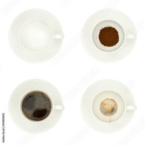 Fototapeta Cups of coffee isolated on white obraz na płótnie