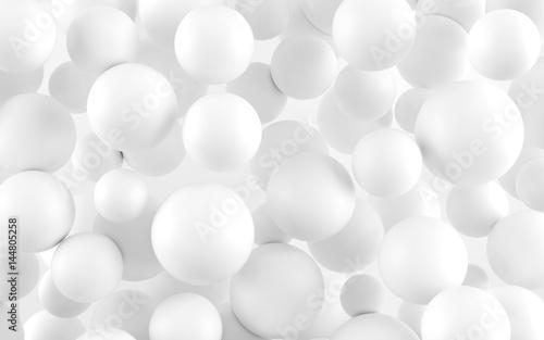 White shpere pearl background. 3d render Wallpaper Mural
