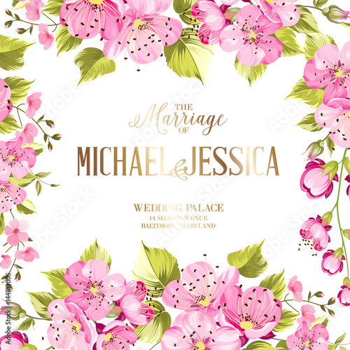 Wedding Invitation Card With Spring Flowers Vintage Wedding
