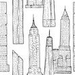 Seamless pattern with Skyscrapers. Hand drawn cityscape sketches