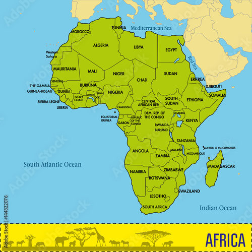 Map of Africa with all countries and their capitals – kaufen ...
