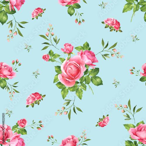 Fototapeta bukiet różowych róż akwarelowych