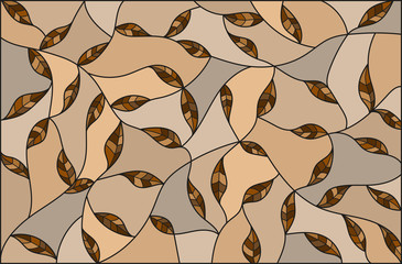 Naklejka Illustration in the style of stained glass with brown leaves on a beige background ,monochrome