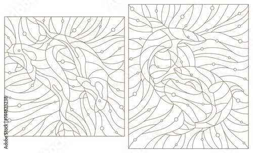 Obraz na plátně  Set contour illustrations of stained glass whales killer whales and sharks on th