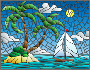 Obraz na Plexi Marynistyczny Illustration in stained glass style with the seascape, tropical island with palm trees and a sailboat on a background of ocean , sun and cloudy sky