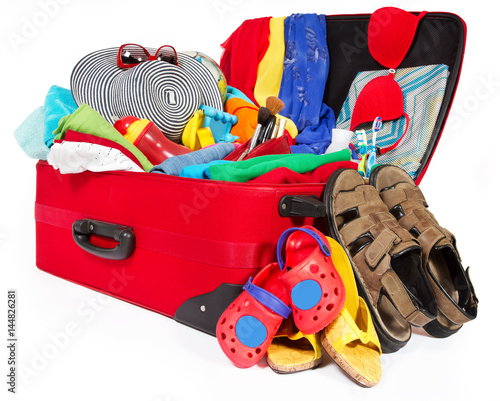 Fotobehang Cars Suitcase, Open Packed Travel Luggage, Family Bag Full of Clothes Baggage for Vacation