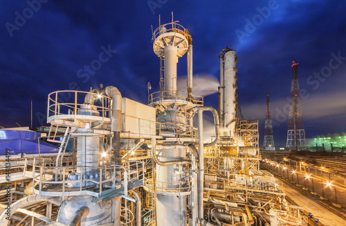 Chemical plant for production of ammonia and nitrogen fertilization on night time Wallpaper Mural