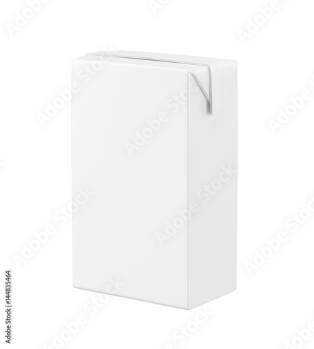 White blank milk box isolated on white background, 3D rendering