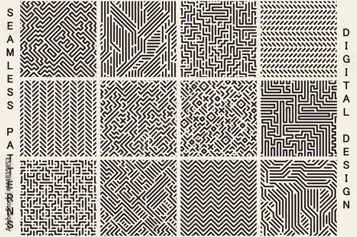 Deurstickers Kunstmatig Collection of striped seamless geometric patterns.