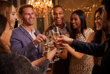 Friends Make Toast As They Celebrate At Party Together