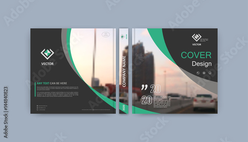 Brochure template. Book cover design. Title sheet. Abstract composition with images. Dark gray, green geometric shapes. Interesting vector illustration. Minimalistic. Creative. Modern.