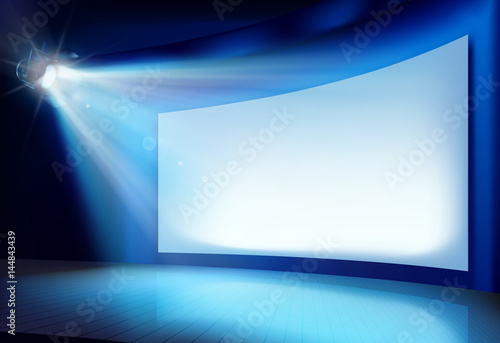 Big projection screen. Vector illustration. Wallpaper Mural