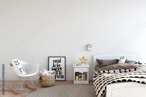 Obraz mock up wall in child room interior. Interior scandinavian style. 3d rendering, 3d illustration - fototapety do salonu