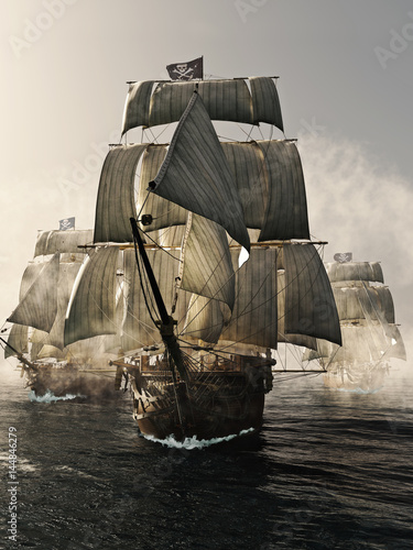 Valokuva  Front view of a pirate ship fleet piercing through the fog