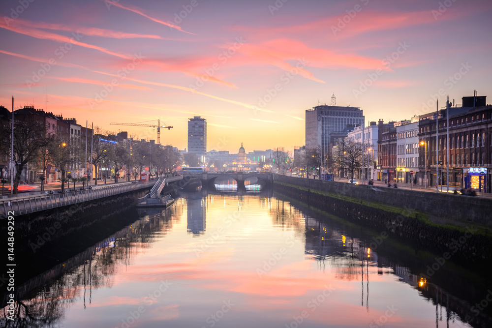 calm at Dublin riverbank, Ireland Poster, Plakat | 3+1 GRATIS bei ...
