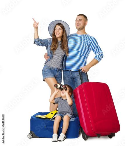 Plakat Rodzinna podróży walizka, dziecko na bagażowym Obuocznym Przyglądającym Up, ludzie Wskazuje Up z Urlopowym bagażem, Odizolowywającym nad Białym tłem