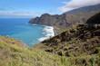 LA GOMERA, SPAIN: The wild coast between Agulo and Hermigua with the beach of Hermigua