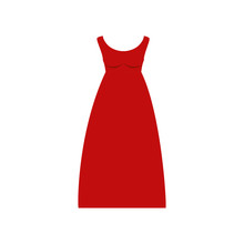 Colorful Drawing Of Red Dress Eighties Retro Style Vector Illustration