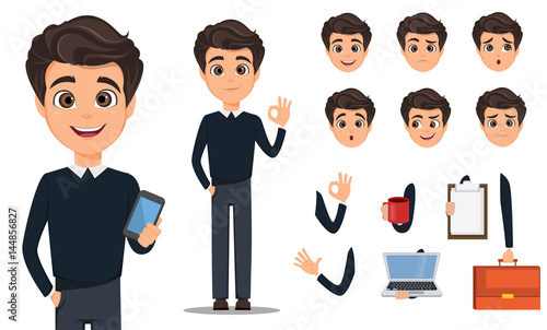 Business man cartoon character creation set Fototapeta