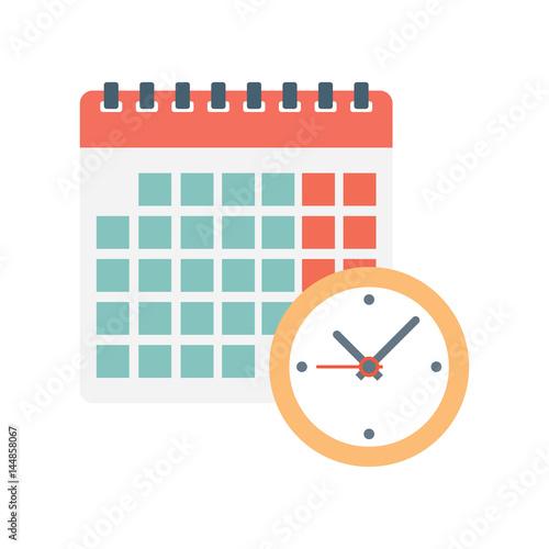 Cuadros en Lienzo  calendar and clock icon.