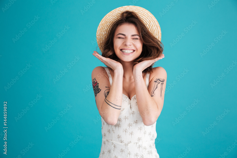 Fototapety, obrazy: Portrait of a cheerful smiling girl in straw hat
