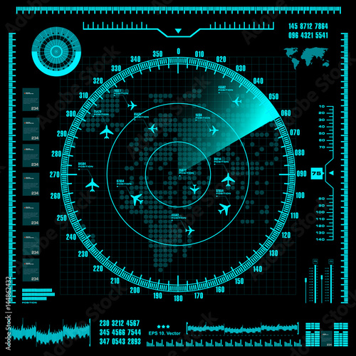 Blue radar screen with planes and world map. Vector EPS10. Wallpaper Mural